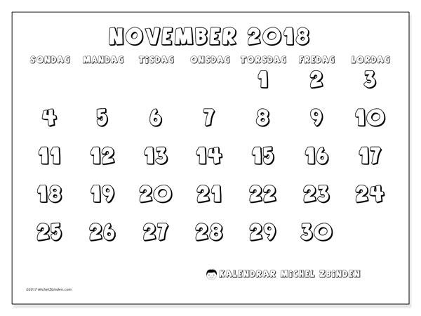Kalender november 2018 (56SL). Kalender för att skriva ut gratis.