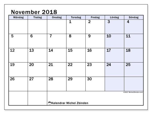 Kalender november 2018 (57MS). Kalender för att skriva ut gratis.