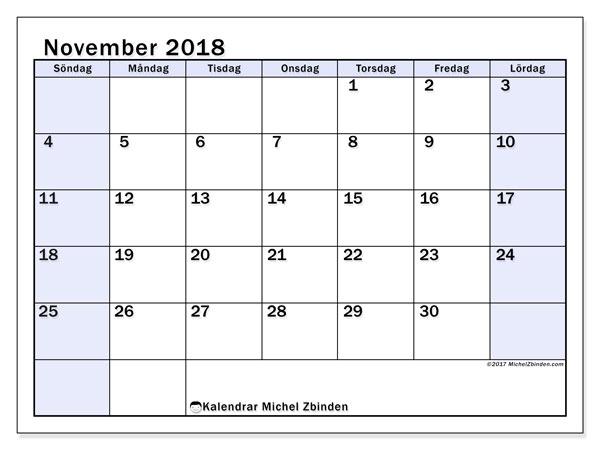 Kalender november 2018 (57SL). Kalender för gratis utskrift.