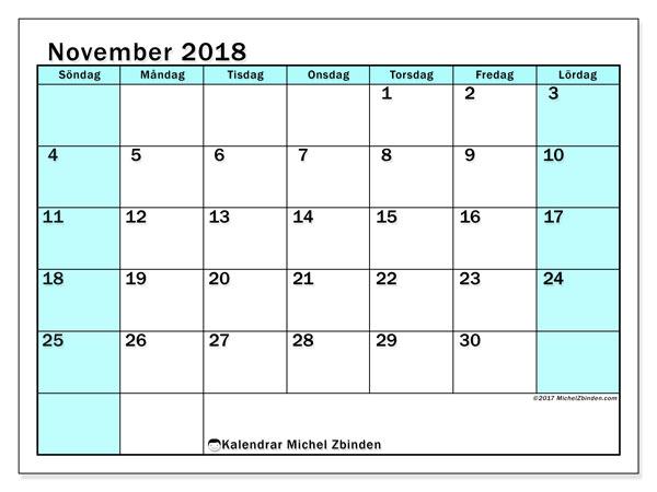 Kalender november 2018 (59SL). Schema för att skriva ut gratis.