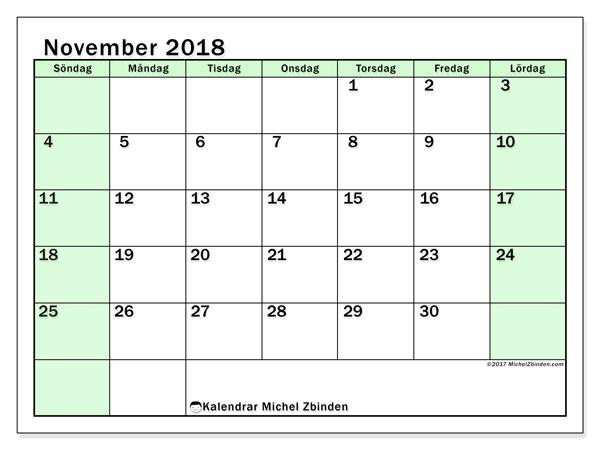 Kalender november 2018 (60SL). Månadskalender för att skriva ut gratis.