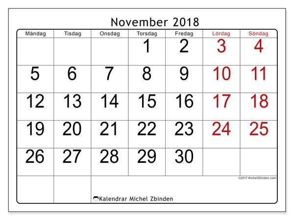 Kalender november 2018 (62MS). Gratis kalender att skriva ut.