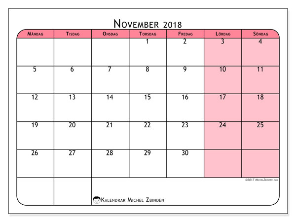 Kalender november 2018 (64MS). Kalender för att skriva ut gratis.