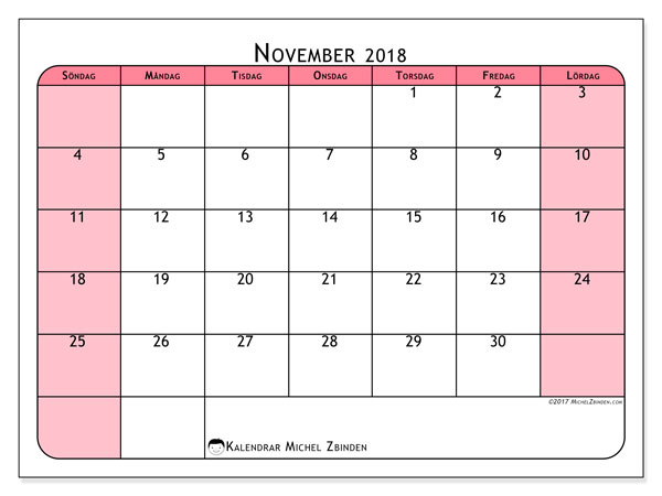 Kalender november 2018 (64SL). Gratis utskrivbara kalender.
