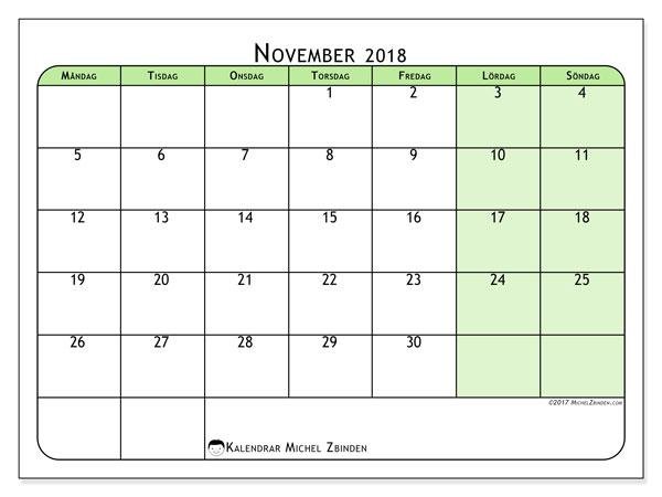 Kalender november 2018 (65MS). Månadskalender för att skriva ut gratis.