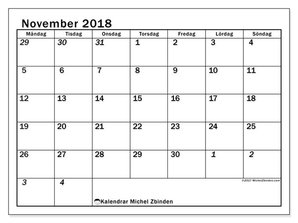 Kalender  november 2018, 66MS