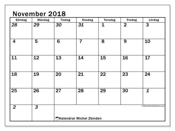 Kalender november 2018 (66SL). Almanak för att skriva ut gratis.