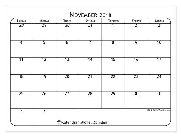 Kalender november 2018 (67SL). Kalender för att skriva ut gratis.