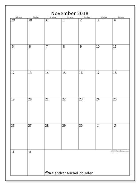 Kalender november 2018 (68MS). Kalender för gratis utskrift.
