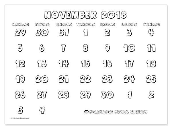 Kalender november 2018 (71MS). Schema för att skriva ut gratis.