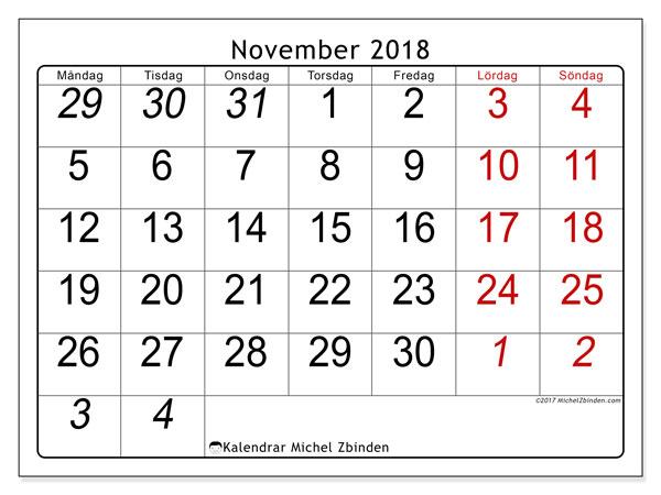 Kalender november 2018 (72MS). Gratis kalender att skriva ut.