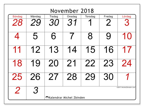 Kalender november 2018 (72SL). Gratis kalender att skriva ut.