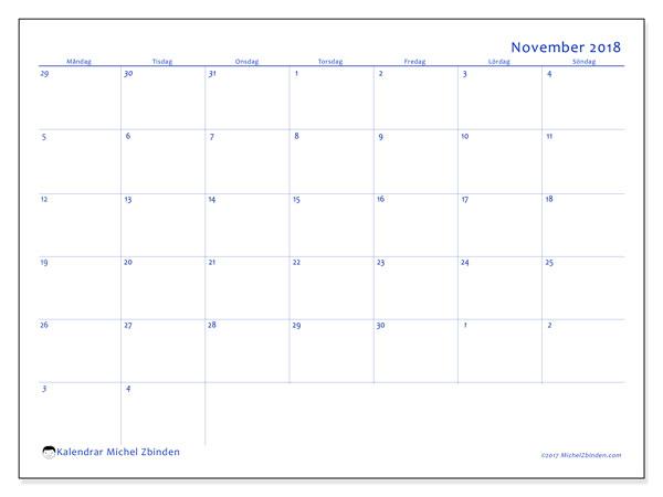 Kalender november 2018 (73MS). Månadskalender för att skriva ut gratis.