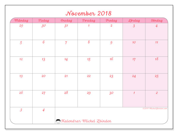 Kalender november 2018 (76MS). Gratis utskrivbara kalender.