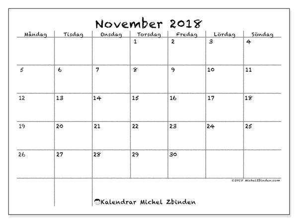 Kalender  november 2018, 77MS
