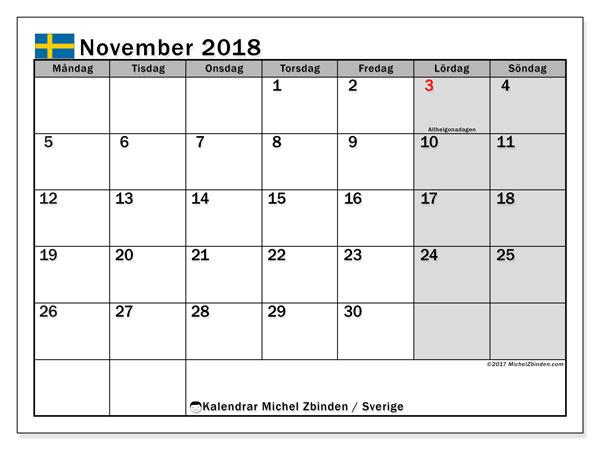 Kalender november 2018, med helgdagar i sverige. Kalender för gratis utskrift.