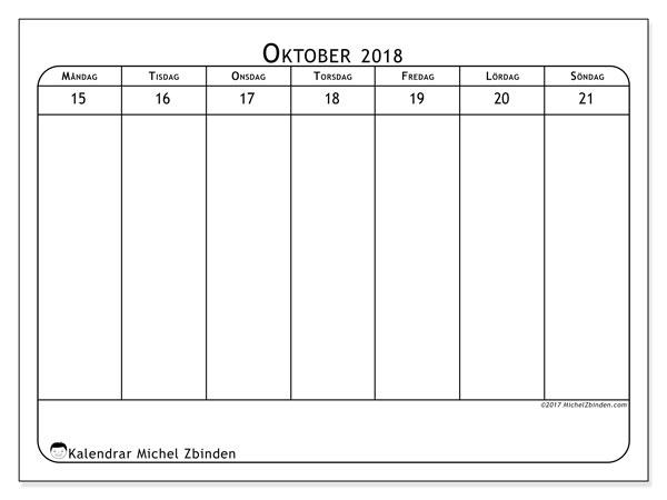 Kalender oktober 2018 (43-3MS). Veckokalender för att skriva ut gratis.
