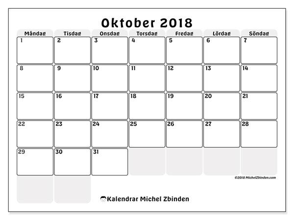 Kalender oktober 2018 (44MS). Almanak för att skriva ut gratis.