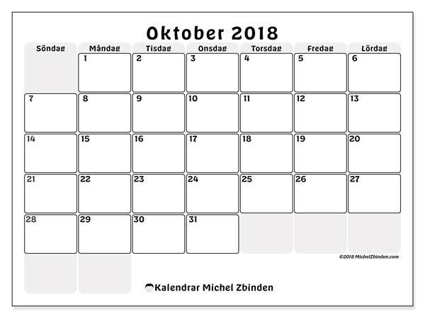 Kalender oktober 2018 (44SL). Månadskalender för att skriva ut gratis.