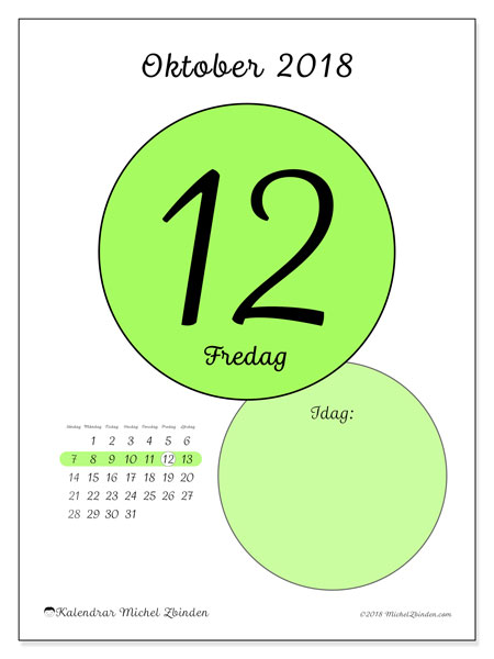 Kalender oktober 2018 (45-12SL). Daglig kalender för att skriva ut gratis.