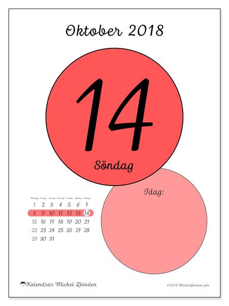 Kalender oktober 2018 (45-14MS). Kalender för dagen att skriva ut gratis.