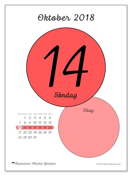 Kalender oktober 2018 (45-14SL). Daglig kalender för att skriva ut gratis.