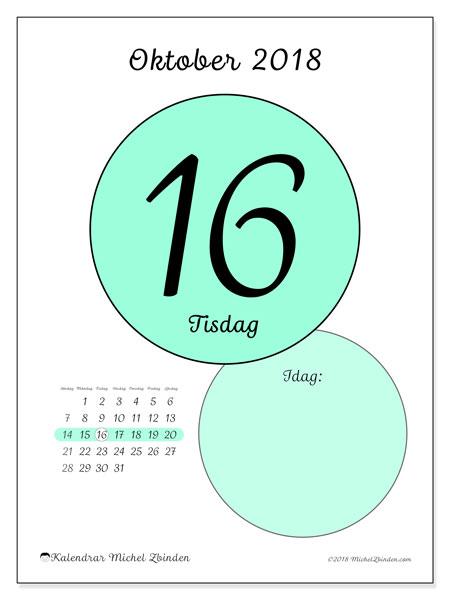 Kalender oktober 2018 (45-16SL). Daglig kalender för att skriva ut gratis.