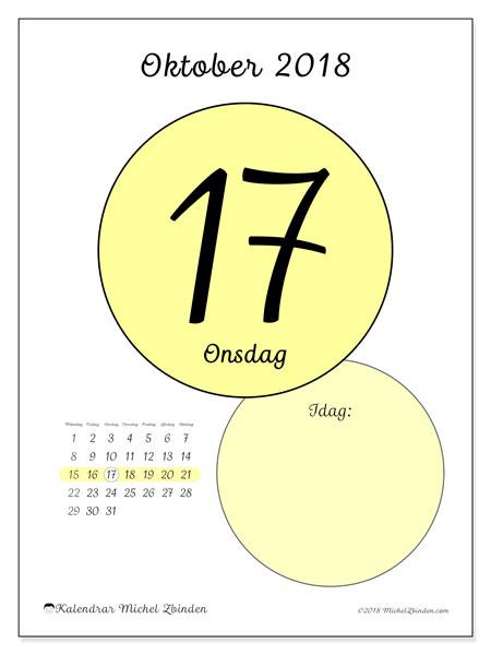 Kalender oktober 2018 (45-17MS). Daglig kalender för att skriva ut gratis.