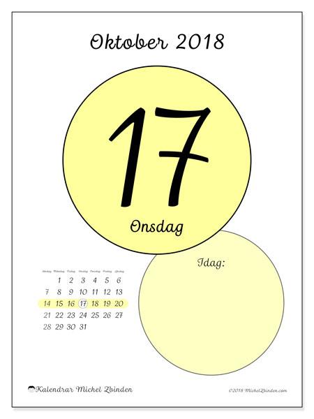 Kalender oktober 2018 (45-17SL). Daglig kalender för att skriva ut gratis.