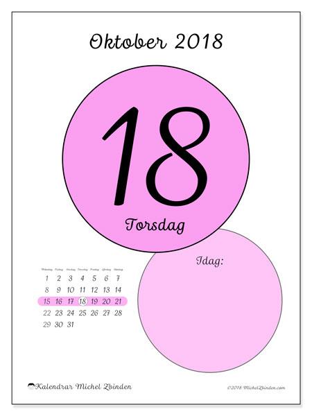 Kalender oktober 2018 (45-18MS). Kalender för dagen att skriva ut gratis.