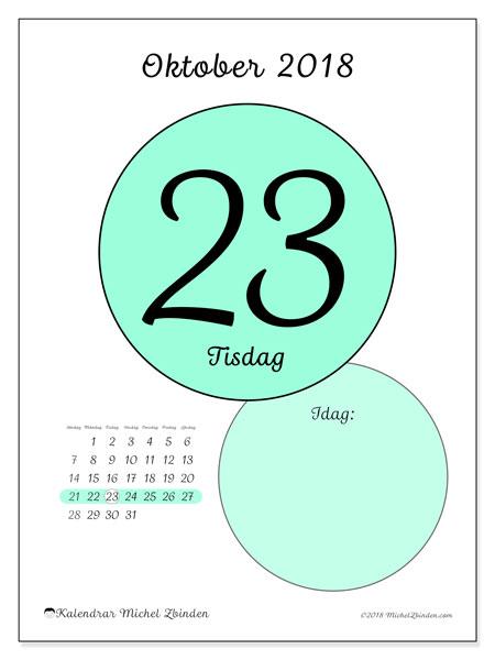 Kalender oktober 2018 (45-23SL). Kalender för dagen att skriva ut gratis.