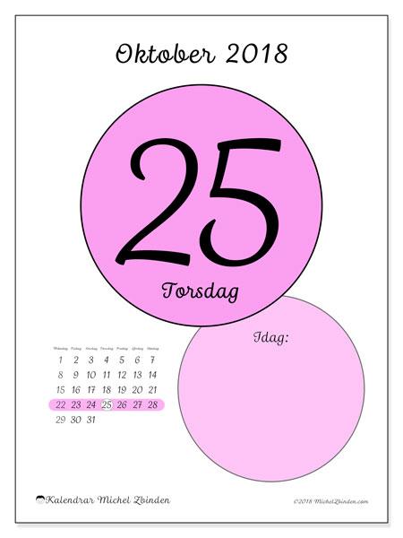 Kalender oktober 2018 (45-25MS). Daglig kalender för att skriva ut gratis.