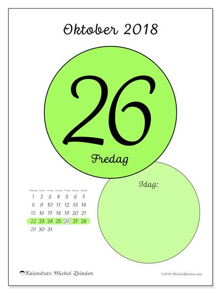 Kalender oktober 2018 (45-26MS). Daglig kalender för att skriva ut gratis.