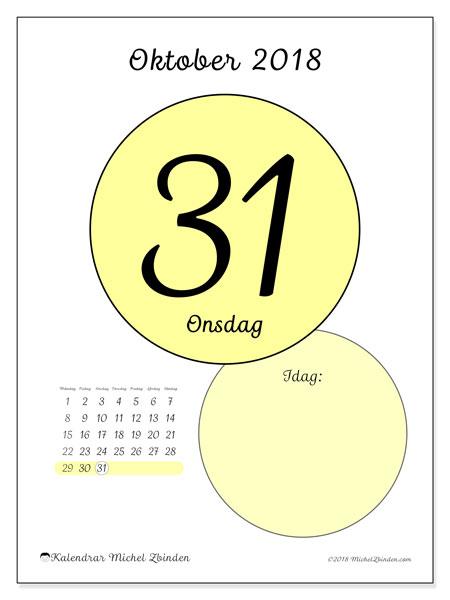 Kalender oktober 2018 (45-31MS). Daglig kalender för att skriva ut gratis.