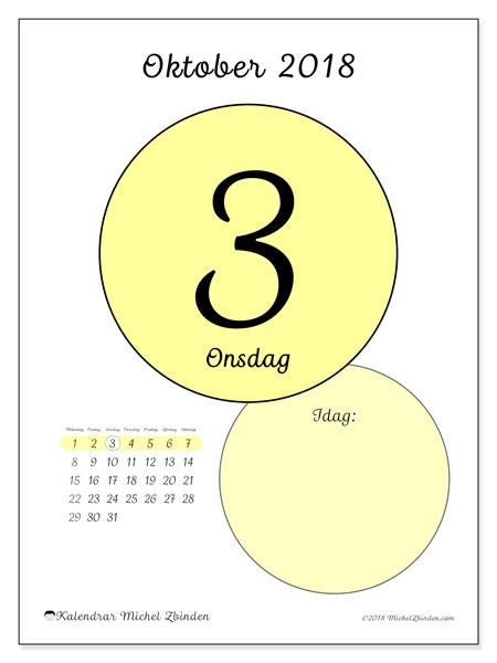 Kalender oktober 2018 (45-3MS). Kalender för dagen att skriva ut gratis.