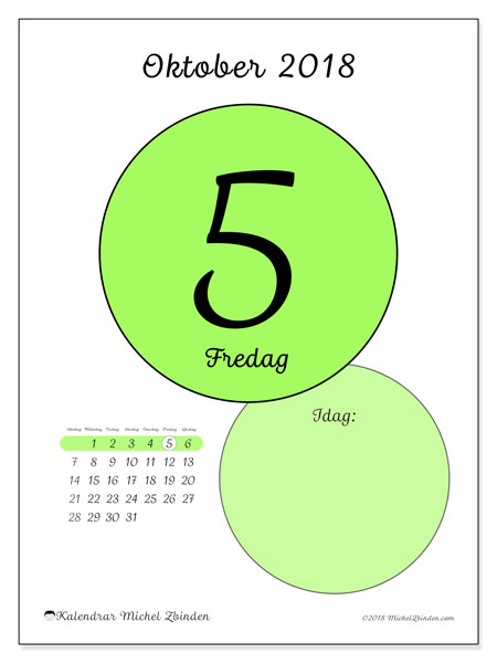 Kalender oktober 2018 (45-5SL). Kalender för dagen att skriva ut gratis.