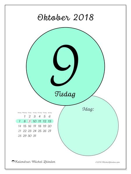 Kalender oktober 2018 (45-9SL). Kalender för dagen att skriva ut gratis.