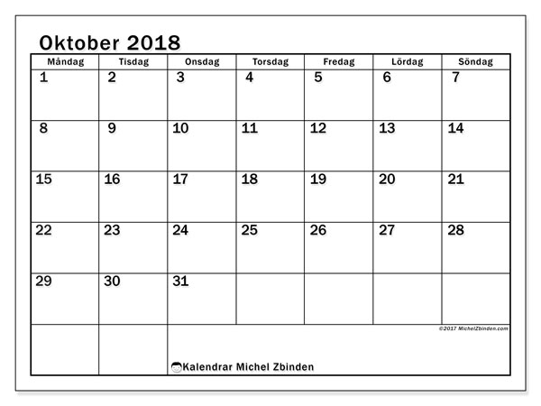 Kalender oktober 2018 (50MS). Gratis utskrivbara kalender.