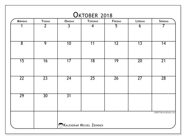 Kalender oktober 2018 (51MS). .