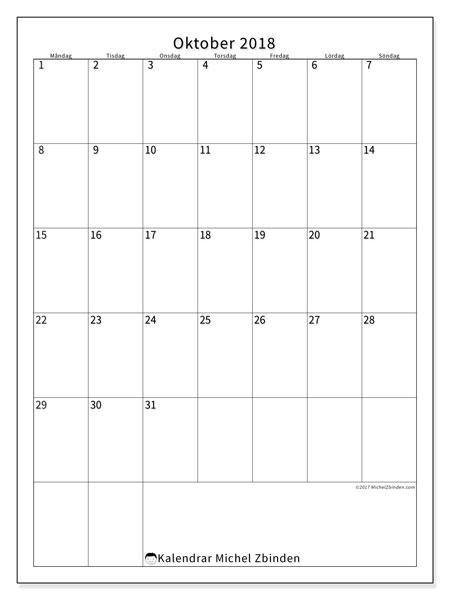 Kalender  oktober 2018, 52MS