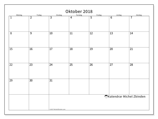 Kalender  oktober 2018, 53MS
