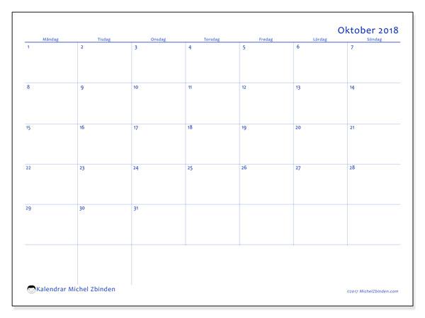 Kalender oktober 2018 (55MS). Kalender för året att skriva ut gratis.