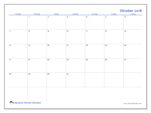 Kalender oktober 2018 (55SL). Gratis kalender att skriva ut.