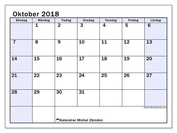 Kalender oktober 2018 (57SL). Kalender för gratis utskrift.