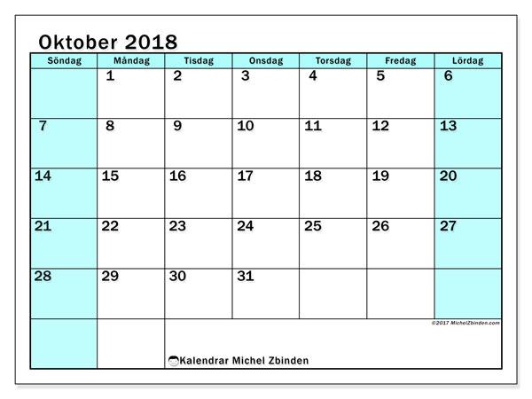 Kalender oktober 2018 (59SL). Gratis kalender att skriva ut.