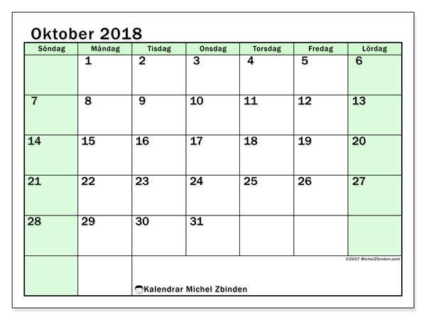 Kalender oktober 2018 (60SL). Månadskalender för att skriva ut gratis.