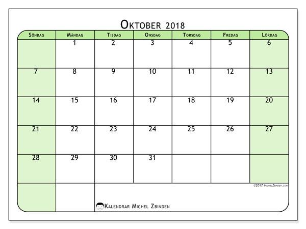 Kalender oktober 2018 (65SL). Kalender för att skriva ut gratis.