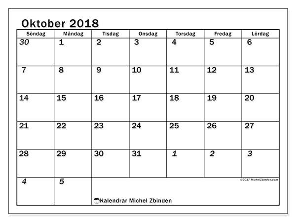 Kalender oktober 2018 (66SL). Kalender för att skriva ut gratis.