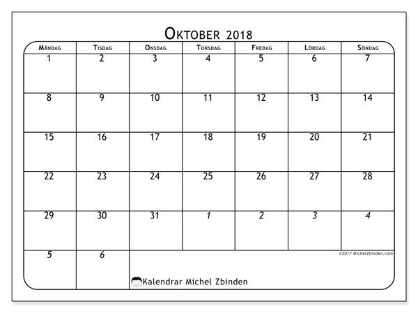 Kalender  oktober 2018, 67MS