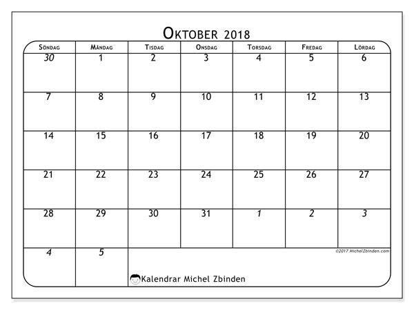 Kalender oktober 2018 (67SL). Kalender för att skriva ut gratis.